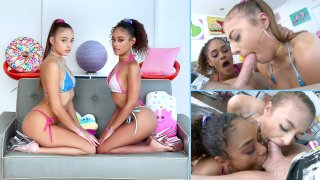 Scarlit and Gia Share a Dick - Swallowed